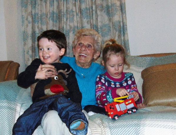 (Margaret with her great grandchildren Amelia Morgan-Lovatt and twin brother Isaac)